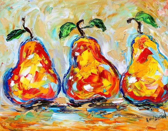 Painting ABSTRACT PEAR palette knife oil original fine art on canvas by Karen Tarlton impressionism