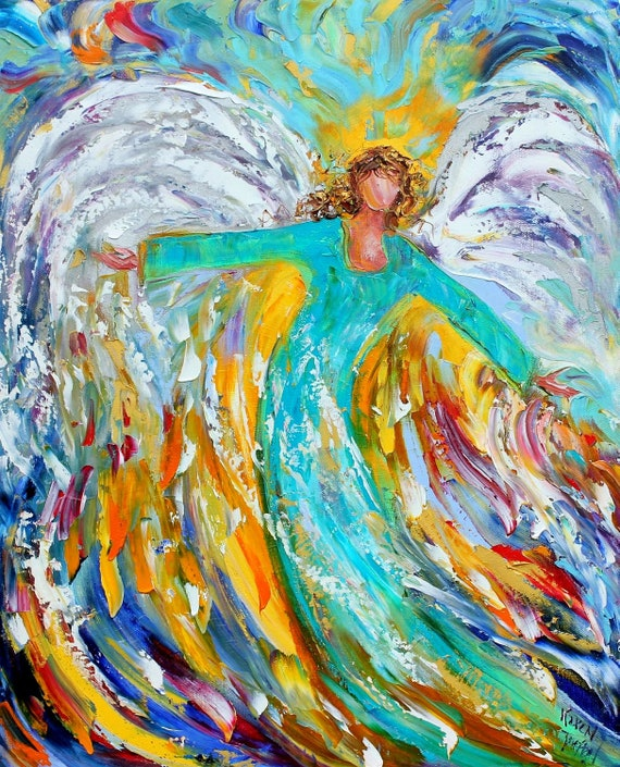Original oil ANGEL PALETTE KNiFE painting modern impressionism impasto fine art by Karen Tarlton