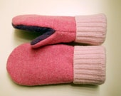 Pink & Purple felted wool mittens: cozy mittens lined with purple fleece.  Made from recycled sweaters.  Kids Small.