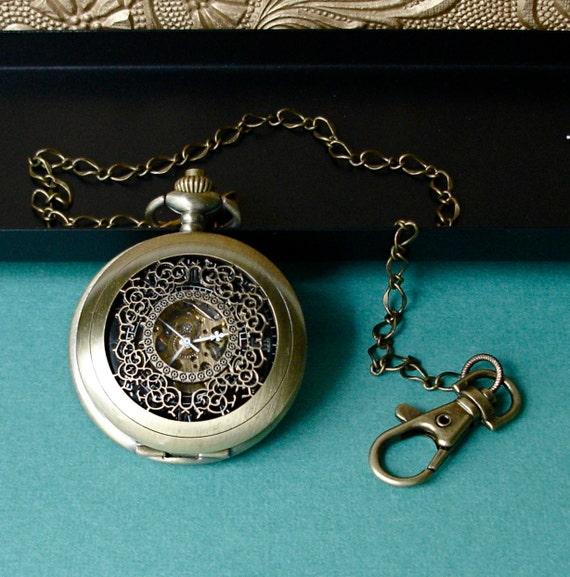 Pocket Watch - NeoVictorian Bronze Filigree  with Gold GOTHIC Numerals, Hand Wound and open Mechanical  Steampunk back