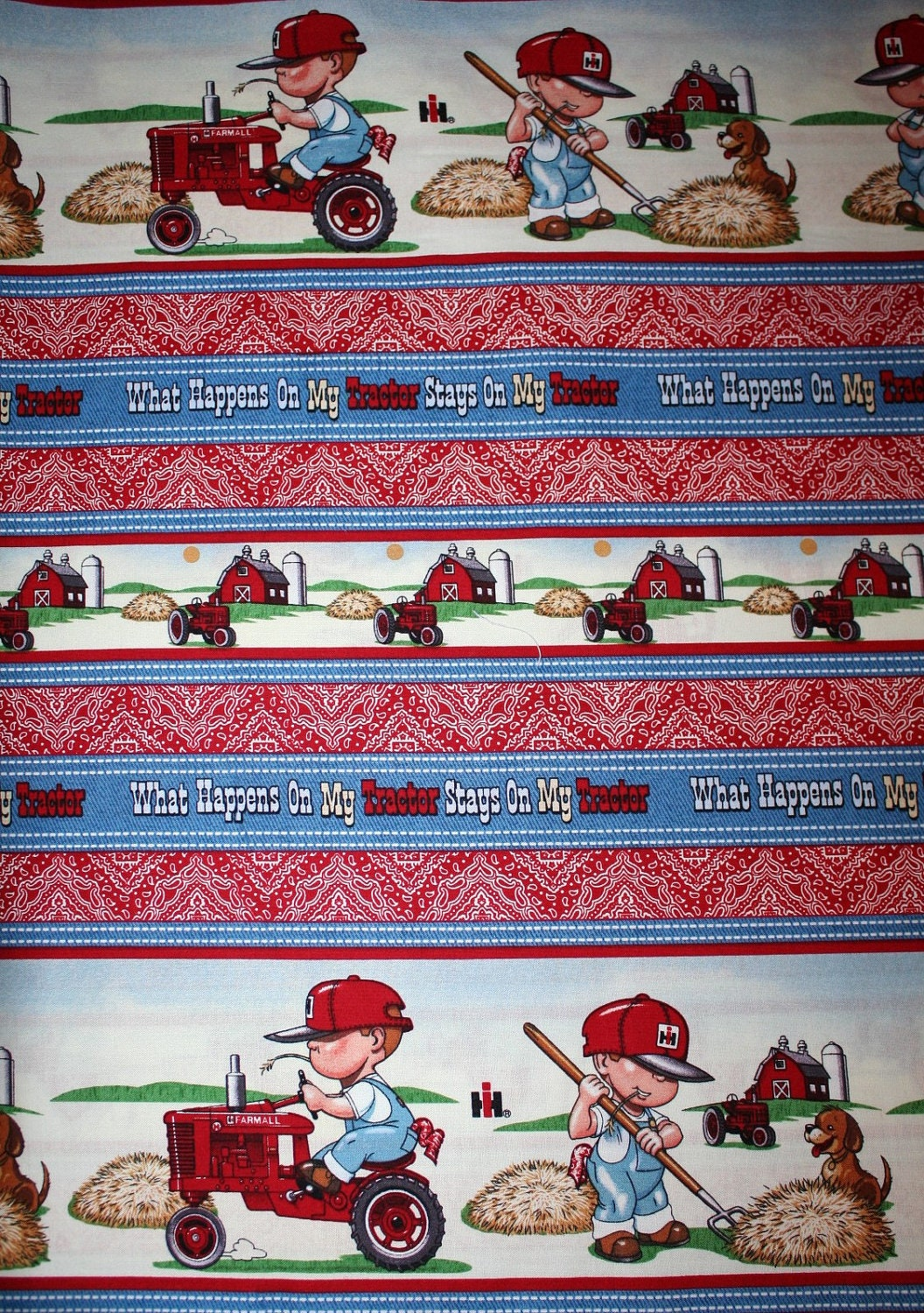 Farm tractor little boys fabric 1 yard for Little boy fabric