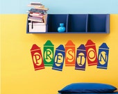 Vinyl Wall Lettering Nursery Custom Personalized Multi Color Crayon Name Quotes Decal