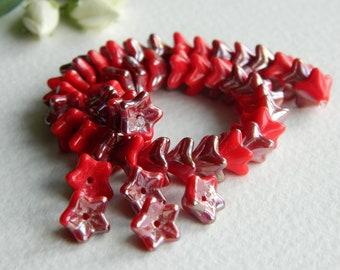 FLOWER Czech beads Glass 5-petal Trumpet Flower Small 6X9mm Opaque Deep Red & Light Bronze Luster (20pcs) NEW