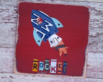 License Plate Rocketship Rocket Alien Astronaut Space Spaceship Shuttle -  Boys Room Nursery Travel Adventure - Recycled Art - Artwork