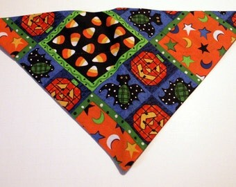 Halloween Dog  Bandana - Pumpkins, candy corn, patchwork, fall, autumn, dog costume
