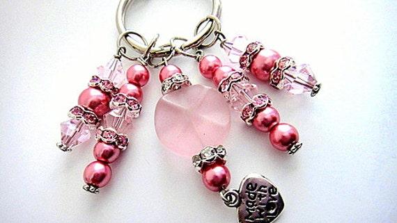 Pink Beaded Heart Charm Key Chain,  Key candy, Beaded Purse Fob,