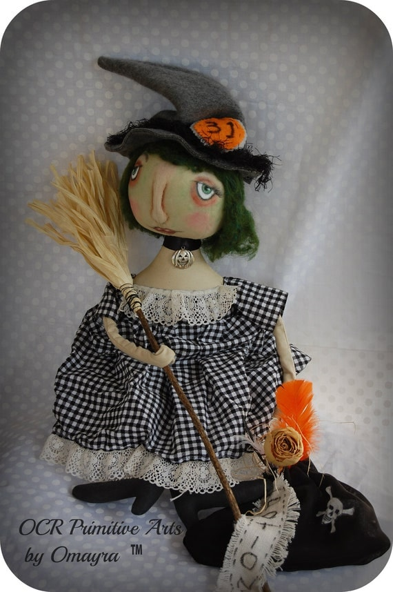 SALE Primitive Folk Art Witch LUCINDA  Doll Halloween ooak On SALE
