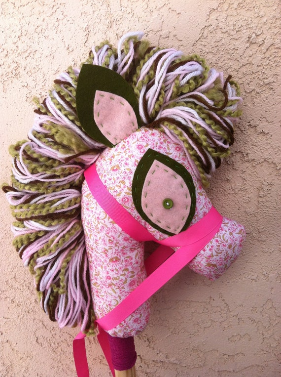 Tiny Pink Floral hobby horse, stick pony, upcycled, recycled Manely Recycled by audioamy