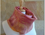 Large Wool Scarf. Felt Scarves. Apricot and Rose Autumn