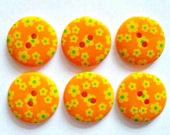 15pcs Cute flower Printed Retro Button Size 23 mm Orange ( yellow and green flower )