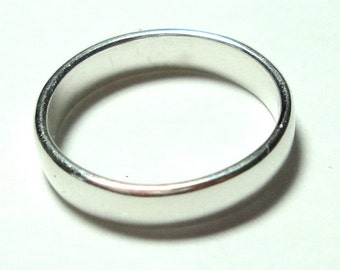 Wedding Band Sterling Silver Ring Plain Polished Silver Wedding Ring 4mm Wide Size 10 7