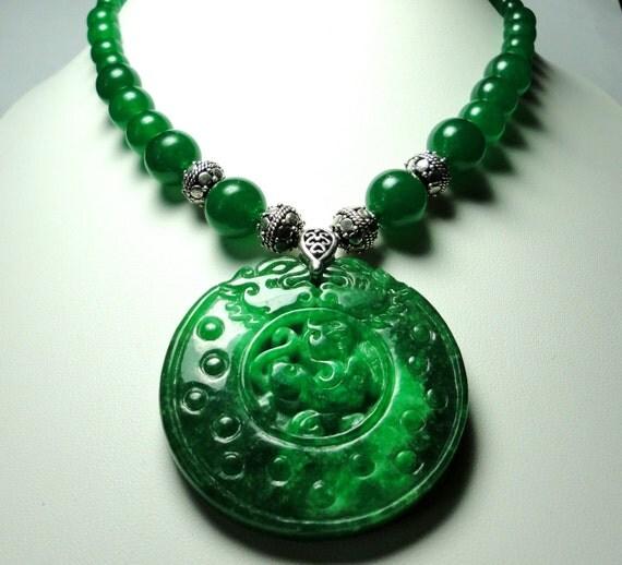 Gorgeous Imperial Green Jadeite Dragon Medallion Pendant With