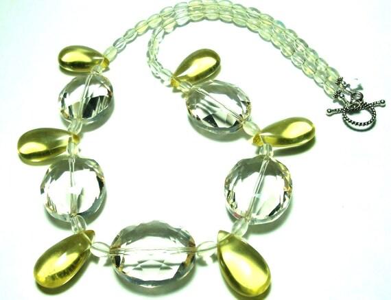 Golden Lemon Drops and Sparkly Faceted Lemon Quartz Necklace