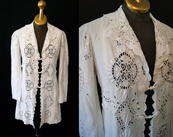 Exquisite 1900's Edwardian white cotton battenburg lace jacket blouse top boho bohemian chic - size Medium to Large