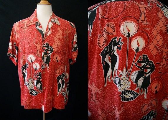 Hold Killer 1950's Aloha Hawaiian men's short sleeve in red printed rayon w/ tiki torches hula girls vlv rockabilly vacation - size XXL