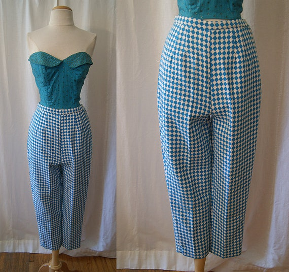 Sassy 1950's / 1960's dead stock turquoise and white harlequin diamond print knit cigarette pants mod rockabilly - size Extra Small to Small