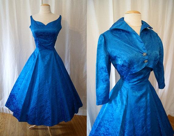 Dazzling 1950's royal blue satin brocade new look party dress with matching bolero jacket rockabilly holiday chic - size Medium to Large