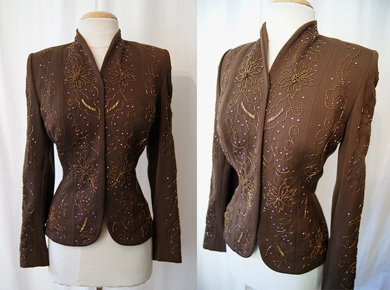 Amazing 1940's chocolate brown gabardine jacket with hand beading film noir Hollywood glamor  rockabilly classic  size medium