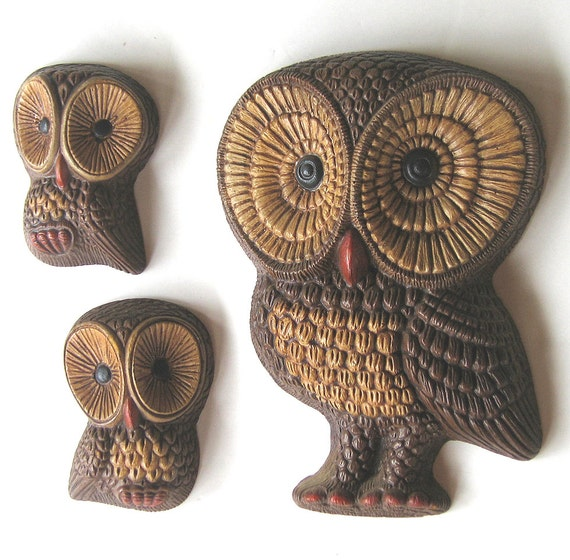 Momma Owl with Twin Babies Vintage Wall Hangings