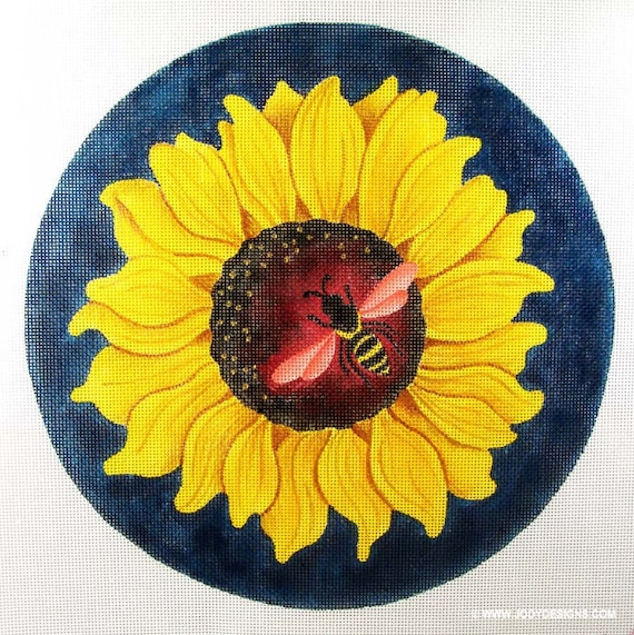 Small Sunflower with Bee Needlepoint 8 inch Round - Jody Designs