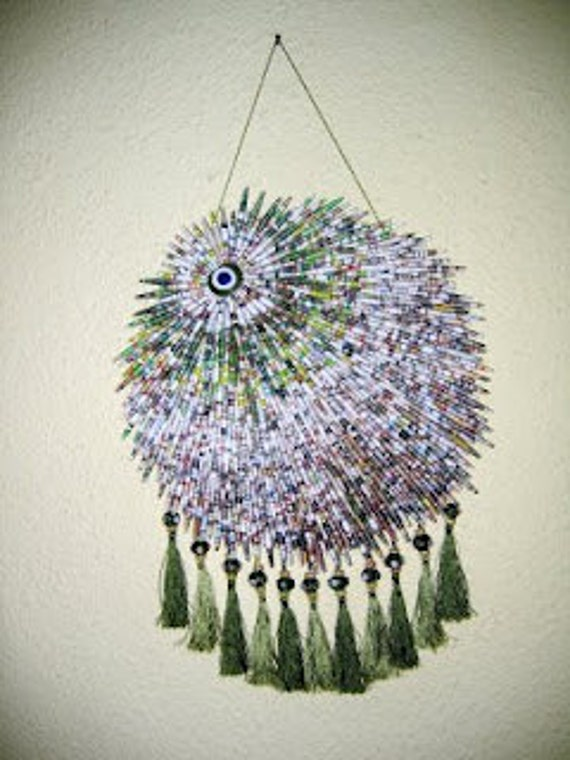 Paper Beads, Wall Hanging, Evil Eye, Recycling