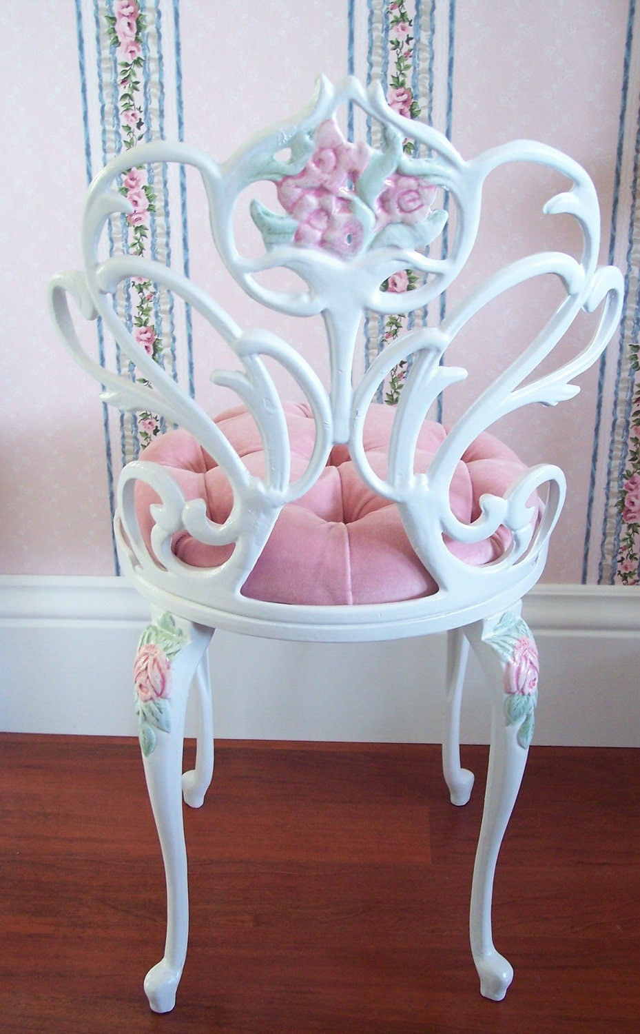 Vintage White Scrolly Boudoir Vanity Chair Stool With Hand