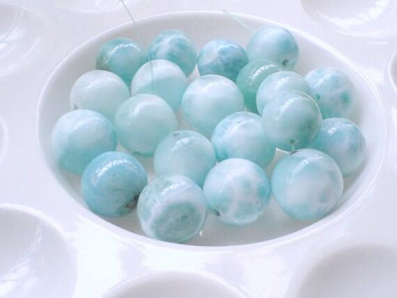5 Larimar beads round 14-15  mm