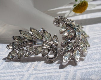 Trifari Bridal Rhinestone Earrings