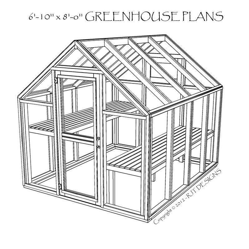6 39 10 x 8 39 0 greenhouse plans printed for Small wooden greenhouse plans