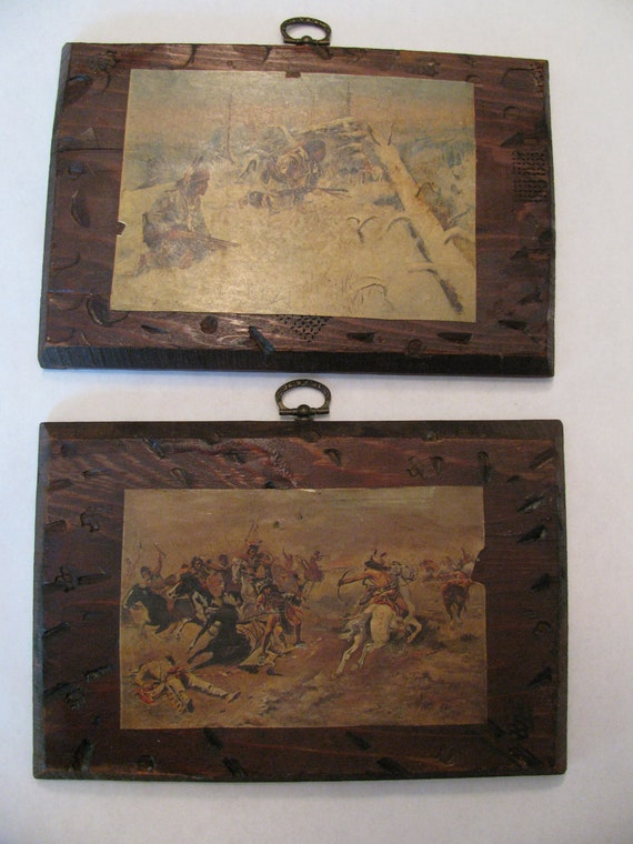 2 Russel Western Cowboy Decoupage Pictures Distressed