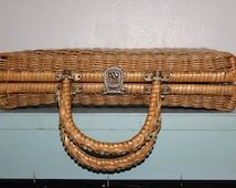 Vintage Woven Wicker Handbag - Briefcase Attache Laptop Case - Blonde Color - Home Decor Storage - Asian Mad MEn