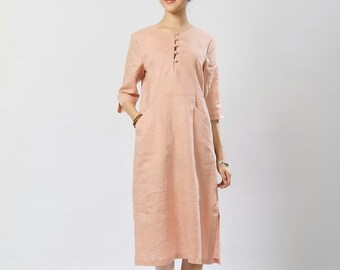 Pink color linen long sundress(more colour and size choice)