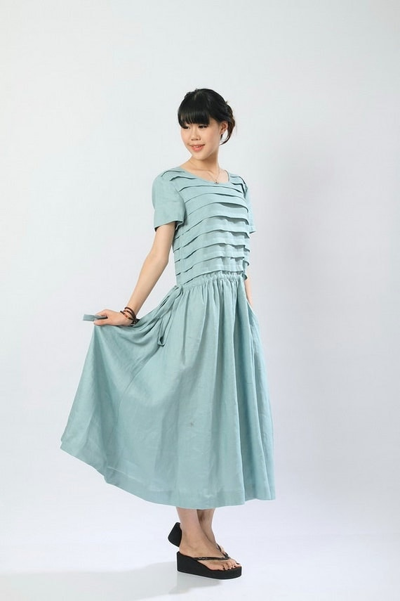 turquoise Linen stratification style Dress(more colour and size choice)