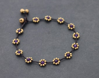 Bead Anklet Amethyst Stone Daisy Brass Braided Anklet