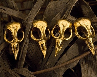 Bird Skull Cabinet Hardware Skull Drawer Pulls  Skull Cabinet Knobs cast metal. Antique gold  plate. Made in NYC