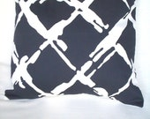 "Throw Pillow in Lattice Paint Brush Print of Navy and White - ""Tidal Bay - Navy"" "" by Nautica Robert Allen Home - 18 Inches Square."