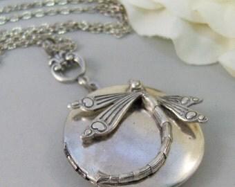 Sundance,Locket,Dragonfly Locket,Wings,Antiqued,Charm,Dragonfly,Silver Locket,Antique Locket. Handmade jewelery by Valleygirldesigns.