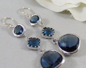 Something Blue, Sapphire Earrings,Blue EArring,Sapphire Jewelry,Bridesmaid Gift,Bridesmaid Earring,Set,Bridesmaid Jewelry Valleygirldesigns