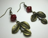 Yaupon  Holly - Czech Glass and Antique Brass