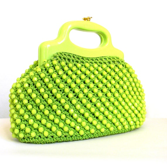 Apple Green Beaded and Macrame 1960's Handbag Purse Vintage