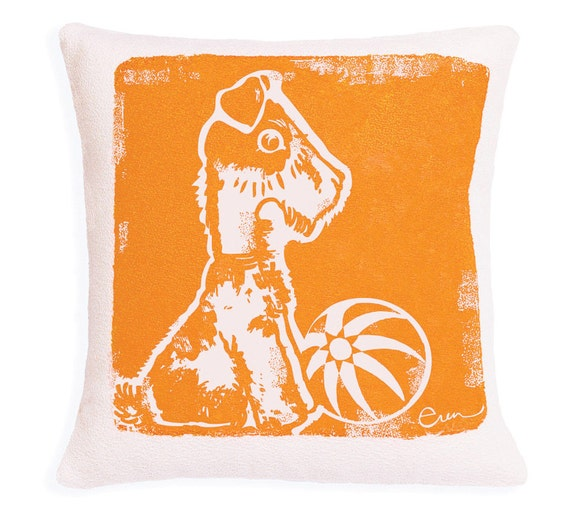 Decorative Pillow, Orange, Dog, Silk screened on cotton bark cloth, 10 inch
