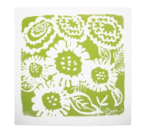Wall Art, Green SunFlower Framed Cloth Print, 19x19 Bark Cloth Silk Screened
