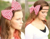 LAST ONE // red and white striped oversized big bow headband.