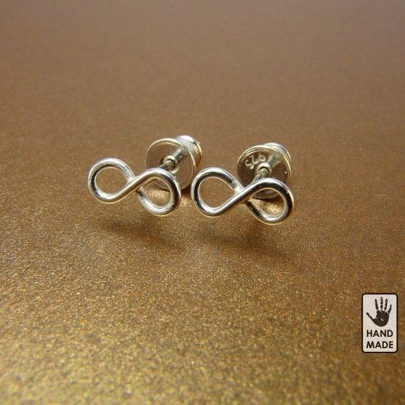 sterling silver infinity earrings studs handmade