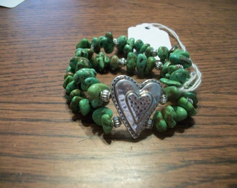 Apple Green Magnesite /Turquoise Heart Bracelet FREE SHIPPING