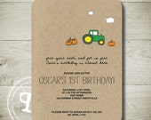 T is for TRACTOR -  Custom Personalised Printable Invitation (We Design, You Print!)