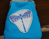 Handmade Purse - Turquoise -Bird and Dragonfly Appliqué