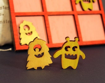 Tic Tac Toe - Battle of the monsters - hand made and laser cut wooden game
