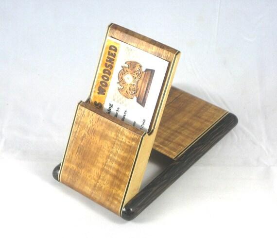 Business Card Case - Hawaiian Curly Koa with Black Palm