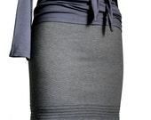 Classic Pencil Skirt, Grey Pencil Skirt, pleated handmade mini or knee length skirt, elegant romantic and casual skirt -  made to measure